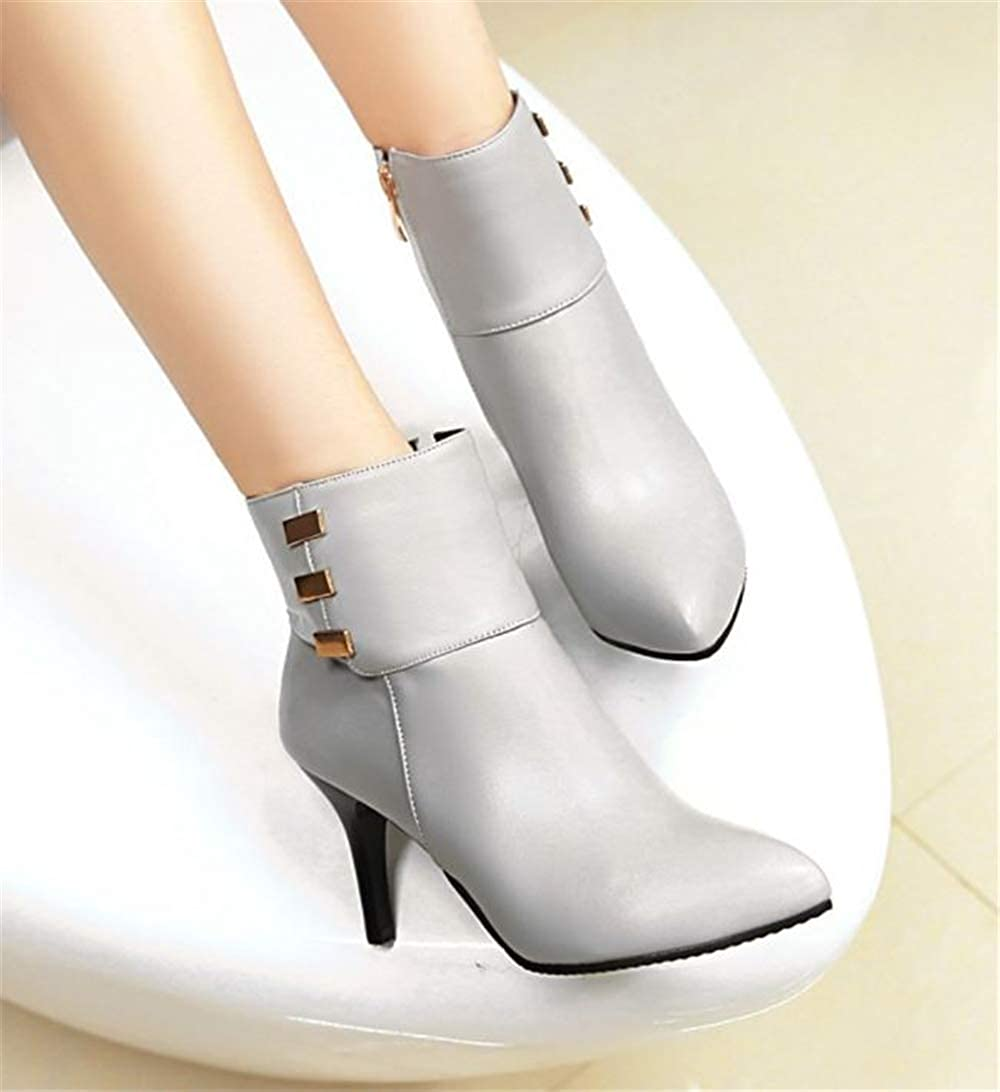 F1rst Rate Womens Side Zipper Pointed Toe Stiletto High Heel Ankle Boots