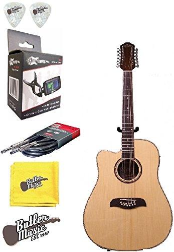 Oscar Schmidt OD312CELH Left-handed 12 String A/E Guitar w/Effin Tuner and More