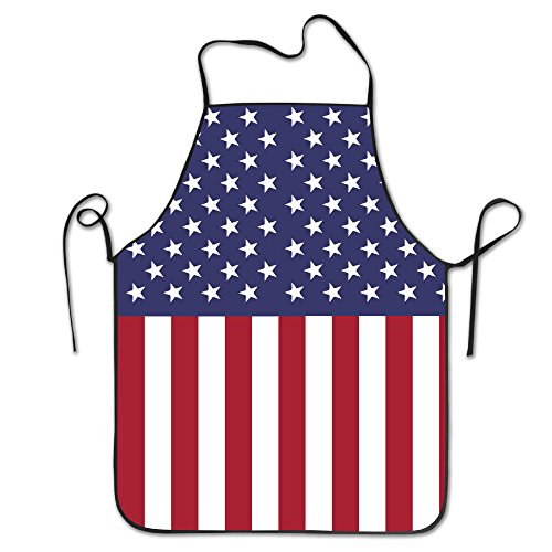 TE-REXQ Womens American USA Flag Kitchen Cooking Chef Baking Apron With Adjustable