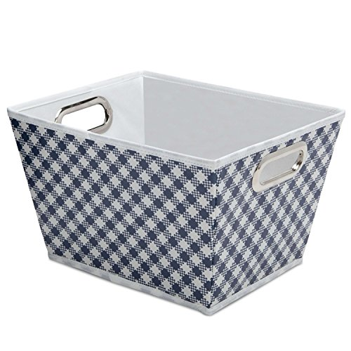 [Delta Children Deluxe Water-Resistant Rectangle Tapered Tote, Gingham/Navy] (Deluxe Blue Gift Basket)