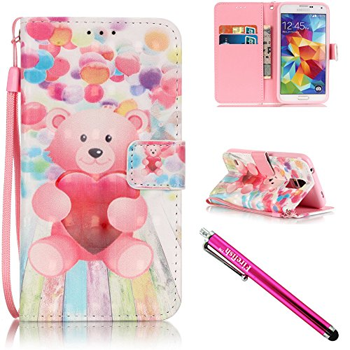 Galaxy S5 Case Galaxy S5 Wallet Case Firefish Kickstand Card Slots Cash Holder Dual Impact Resistant Case Cover with Wrist Strap Magnetic Snap Closure for Samsung Galaxy S5 i9600-Bear