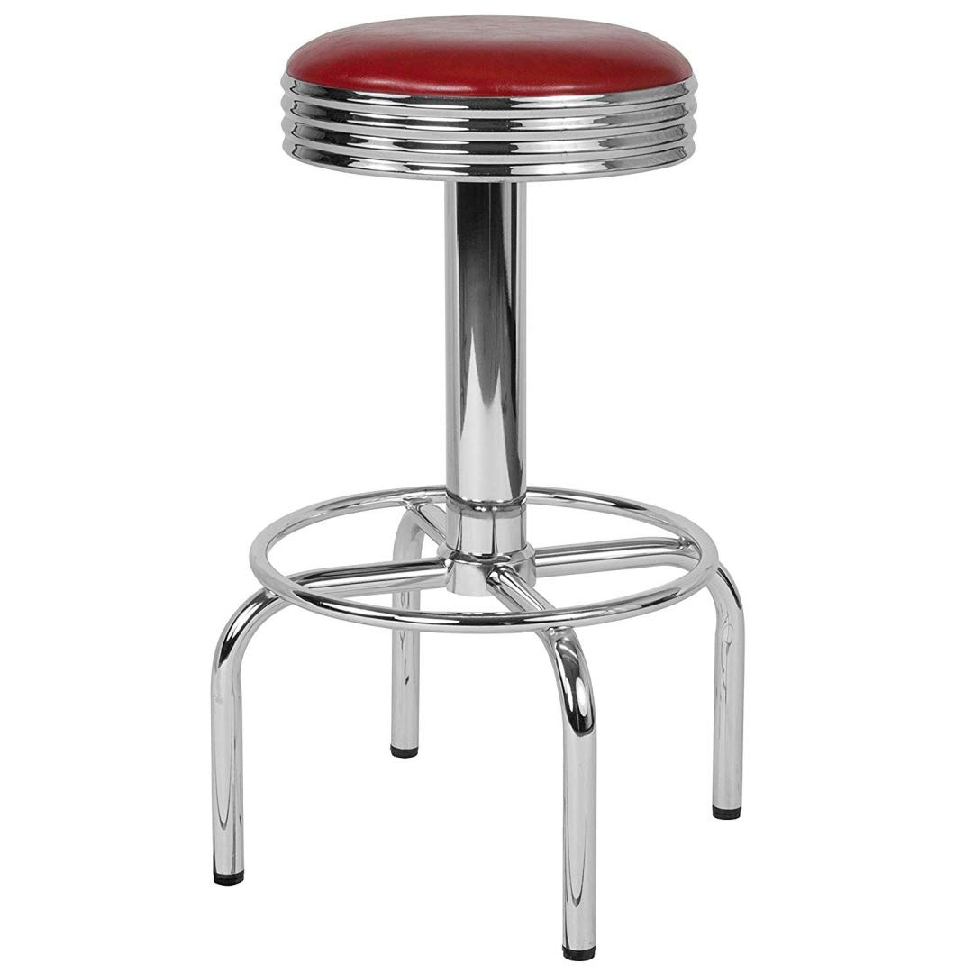 Modern Classic Design Metal Dining Round Backless Barstools Extra Wide Quadruple Base Lounge Diner Restaurant Commercial Seats Home Office Furniture - (1) Red Vinyl Seat #2203