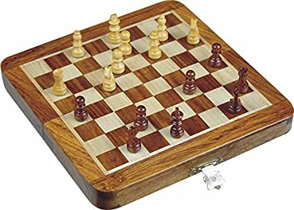 AVS Stores Wood Magnetic Travel Chess, Chessmen Set and Wooden Board Traveling Games (Folding 7 inch)