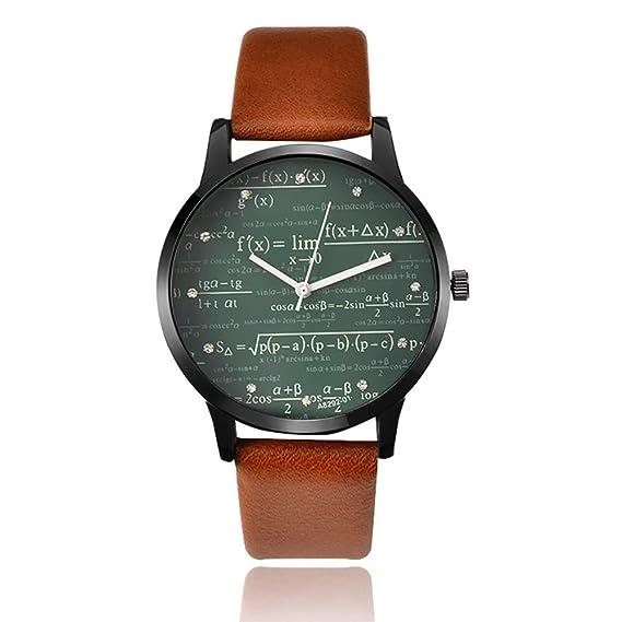 Reloj Fórmula de Cuarzo con Pulsera de Cuero para Hombre y Mujer: Amazon.es: Relojes