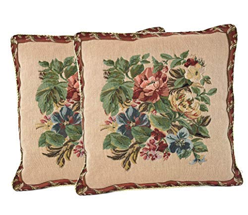 (Tache 2 Piece 18 X 18 Inch Tapestry Festive Red Yuletide Blooms Throw Pillow Cushion Cover - 5598)