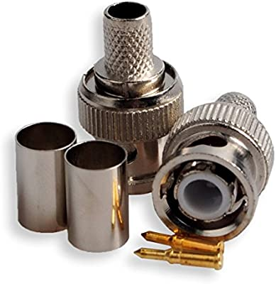 1 Set 3 Piece Professional BNC Male RG59 Plug Crimp Connectors Coaxial Cables