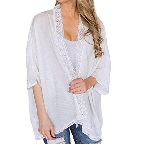 Uni Femme Ouverte Veste Cardigan Gilet Blanc Dames Dentelle Kimono Bringbring Manteau xwIXIZr