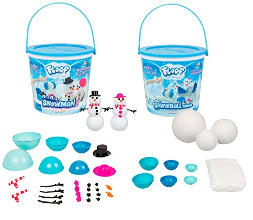 Floof Modeling Clay Bundle with Mr & Mrs Snowman and Snowball Maker - Reusable Indoor Snow - Easy to Mold Into Different Shapes - Clean-up Quickly and Easily