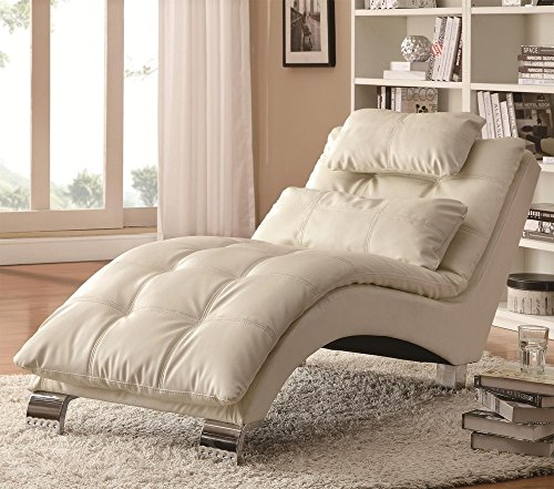 Coaster Home Furnishings Dilleston Pillow Top Chaise - White Faux Leather (White Sofa Sectional Furniture)