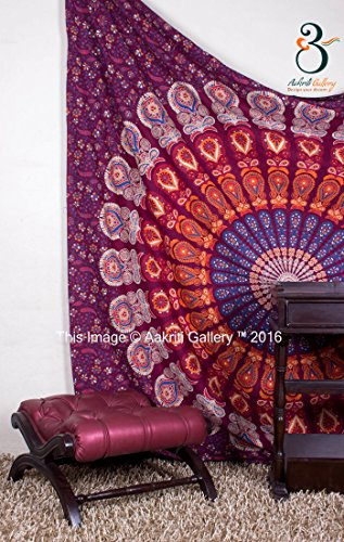 Tapestry Queen Valentine Gift Maroon Barmeri Beach Sheet Indian wall Hanging Mandala BedSpread Dorm Decor Bedspread Tapestries 92x82 Inches Aakriti Gallery