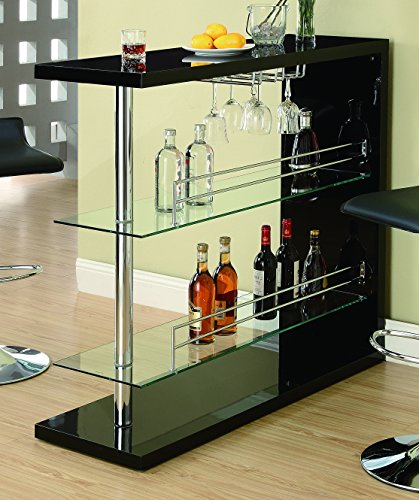 Cheap Rectangular 2-shelf Bar Unit with Wine Holder Glossy Black, Chrome and Clear