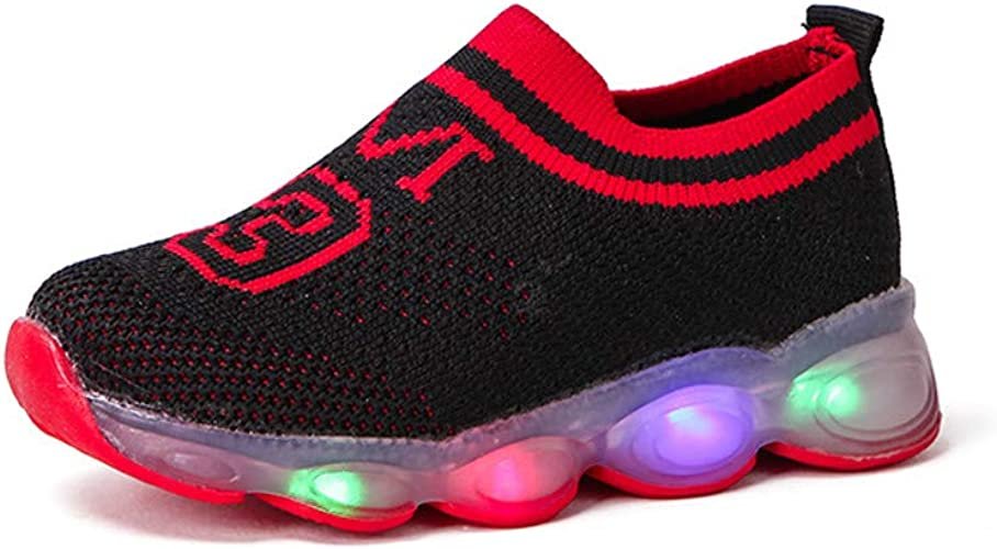 Children Girls Boys Casual Shoes LED Light Luminous Sneakers Patchwork Sport Running Trainers Mesh Lightweight Soft Bottom Fashion Shoes for 1-6 Years Old Kids Footwear Size