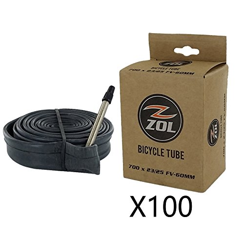 Zol Road Bicycle Bike Inner Tube 700x23/25C Presta/French Valve 60mm (Box 100 PCS)