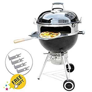 Onlyfire Pizza Oven Kit 22-1/2 Inches Kettle Grills - Includes Stone Aluminum Peel, Thermometer
