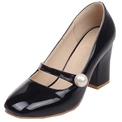 aa58a5f56782 Artfaerie Womens High Heels Mary Janes Strappy Pumps Patent Leather Closed  Toe Summer Dolly Shoes Black
