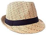 Verabella Straw Fedora Hat Women/Men's Summer Short Brim Straw Hat,Brown,SM
