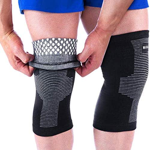 Mava Sports Reflexology Knee Support Sleeves (Pair) for Joint Pain and Arthritis Relief, Improved Circulation Compression – Effective Support for Running, Jogging, Workout, Walking and Recovery