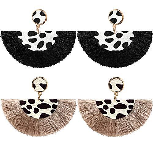 - Golray Tassel Earrings Long Fringe Bohemian Dangle Drop Earrings Fan Fringe Leopard Print Leather Earrings for Women Girls (Black Brown)