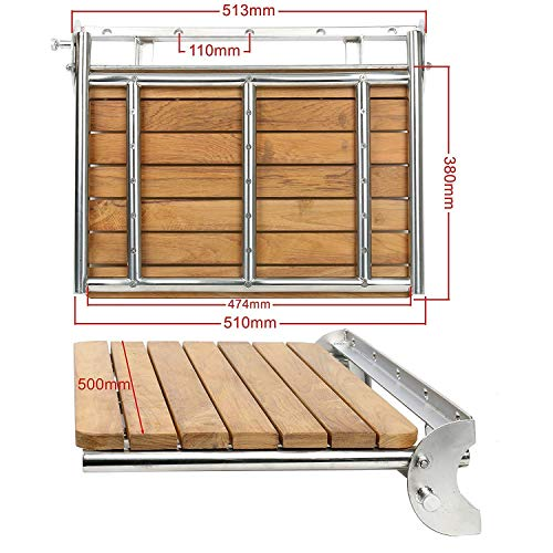 "Amarine-made Teak Folding Shower Seat - Wall Mounted - Solid Wood Fold Down Spa Bench (19-5/8""x15""x1.7"")"