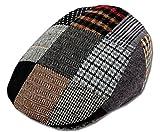 Men's Patchwork Wool Duckbill Ivy Newsboy Caby Irish Tweed Cap Hat (L)