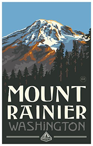 Mt Rainier Washington Travel Art Print Poster by Paul A. Lanquist (12