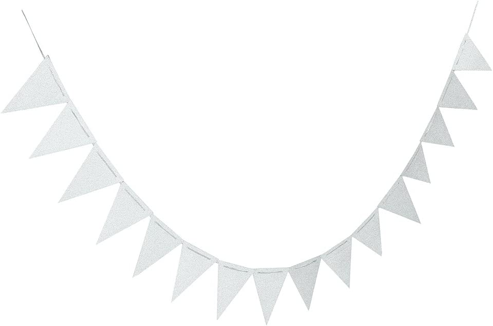 ZOOYOO 20 Feet Silver Glitter Pennant Banner, Paper Triangle Flags Bunting for Baby Birthday Party, Wedding Decor, Baby Shower, 30pcs Flags, Pack of 1(One 20 Feet or Two 10 Feet)