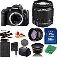 Great Value Bundle for T6I DSLR – 18-55mm STM + 32GB Memory + Wide Angle + Telephoto Lens + Case