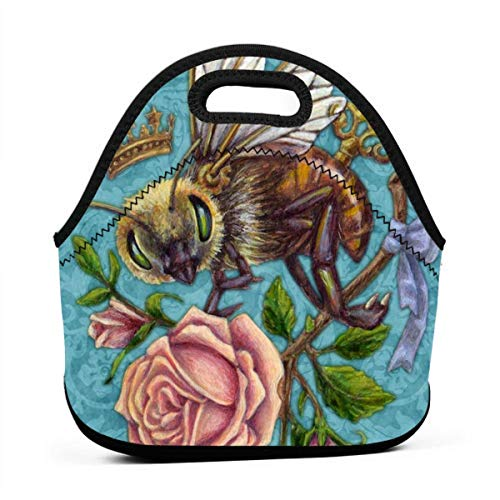 Sunmoonet Steampunk Bee Lunch Bag with Zipper Shoulder Strap Lunch Tote Bag Reusable Bags for Adults Kids