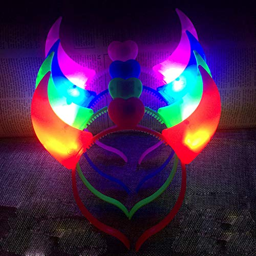 Glumes Light Up Crown, Cat Ear Headband, Rabbit Ears Headband, Devil Costume for Christmas New Year Party, LED Tiara, Xmas Wreath Garland Headband, Halloween Fairy Make up -