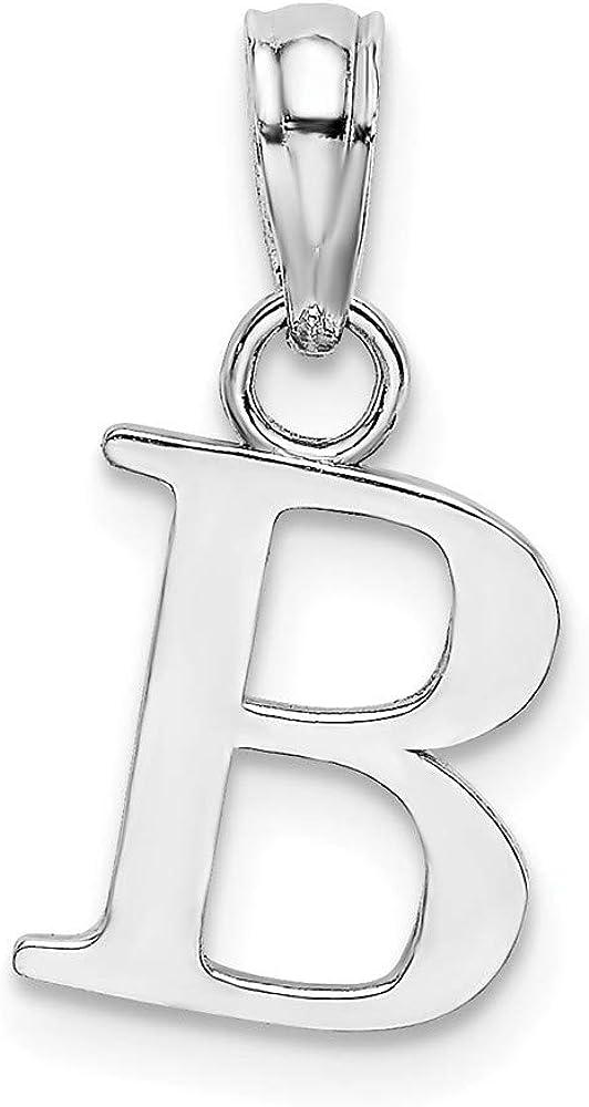 Solid 14K Rose Gold B Block Initial Letter Alphabet Charm Pendant 9mm
