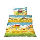 Aminata Kids - süße Jungen Mädchen Kinder-Bettwäsche 100x135 roter Traktor Hof-Tiere Bauernhof Bauer hochwertige Baumwolle Jungen-Bettwäsche-Kinder Pferd Hund Katze
