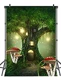 Sensfun 5x7ft Fantasy Tree House Photo Background Green Forest Lights Photography Backdrops Cartoon Children Photo Backdrop Props