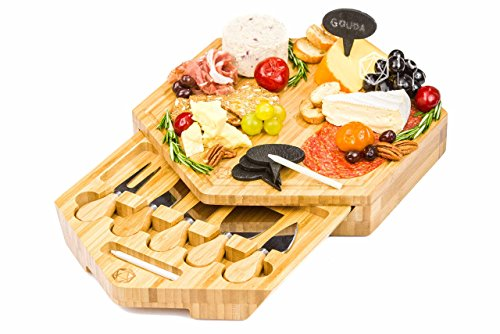 APOLLO 12-Piece Complete Bamboo Cheese Board Serving Set with 5 Cheese Knives and Cheese Markers and Chalk (Knife Twelve Piece Set)