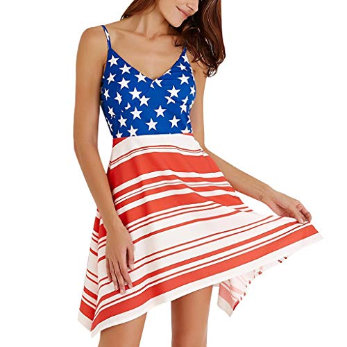 Toponly Women Sleeveless Cami Dress 4th July American Flag Independence Day Evening Prom Wave Point Strap Sling Dress]()