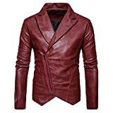 Brown Leather Jacket Men for Bikers - Distressed Lambskin Waxed Motorcycle Leather Jacket Slim Leather Coat