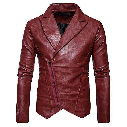 Brown Leather Jacket Men for Bikers - Distressed Lambskin Waxed Motorcycle Leather Jacket Slim Leather Coat by Sinzelimin Men's Top