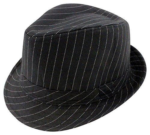 Enimay Classic Fedora Hat Gangster Cuban Summer Straw Trilby Pinstripe Black Small/medium
