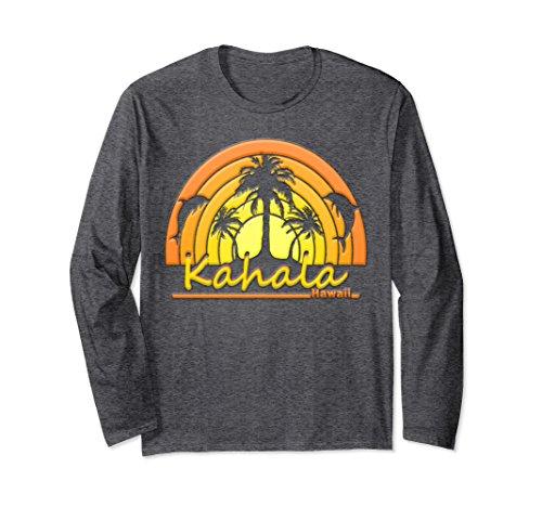 Unisex Kahala, Hawaii Dolphins, Palm Trees, Sunset Tshirt 2XL Dark - Hi Kahala