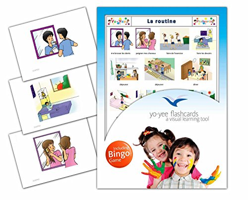 Daily Routines Flashcards in French Language - Flash Cards with Matching Bingo Game for Toddlers, Kids, Children and Adults - Size 4.13 × 5.83 in - DIN A6 (French Bingo Game)