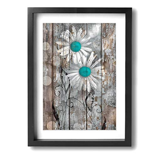 Okoart Art-Logo Rustic Farmhouse Aqua Brown Daisy Flowers Modern Canvas Prints Pictures Painting Framed Artworks Home Decoration Wall Decor Ready to Hang 12x16inches