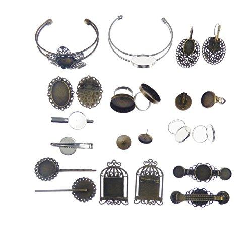 ed Bracelet Setting Bezel Ring Mount French Earring Post Hair Clip Blank ()