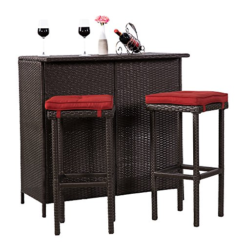 Cloud Mountain 3 PC Patio Bar Set Outdoor Garden Backyard Rattan Bar Table 2 Stools Barstool Furniture Set, Brick Red Cushion 2 Rattan Bar Stools