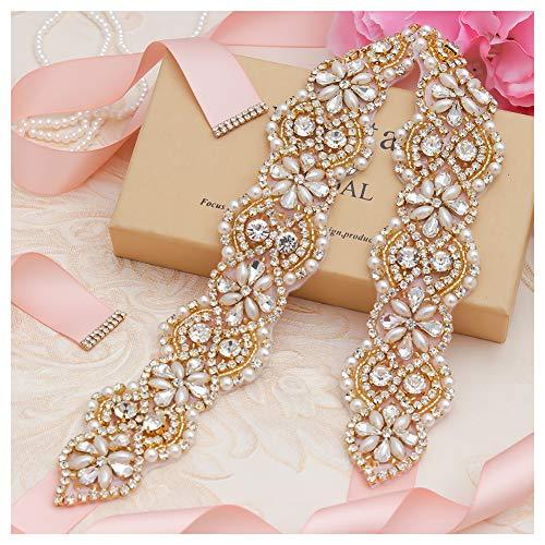 Yanstar Wedding Bridal Belts In Gold Rhinestone Crystal Pearl With Blush Sash For Wedding Dress Prom Gown-17.7In1.6 ()