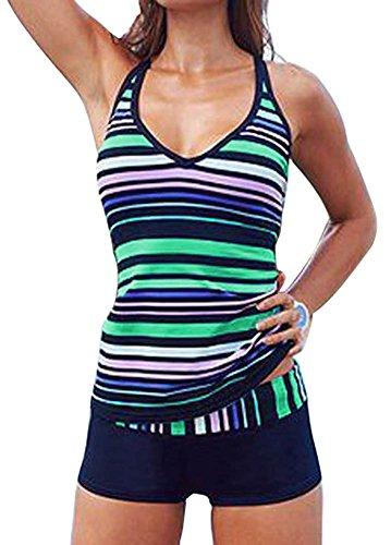 Creabygirls-Womens-Multi-Striped-Two-Piece-Tankini-Swimsuit-Swimwear