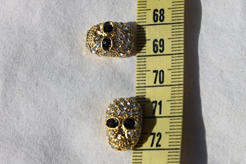 16.5mm Alloy Rhinestone Bead Halloween Skull Golden Color/2 Beads for Jewelry Making, Supply for DIY Beading (Pony Bead Patterns Halloween)