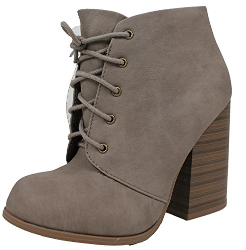 - Speed Limit 98 Women's Closed Toe Lace up Closure Stacked Block Heel Ankle Bootie, Black, 55 M US (Taupe, 7.5 B(M) US)