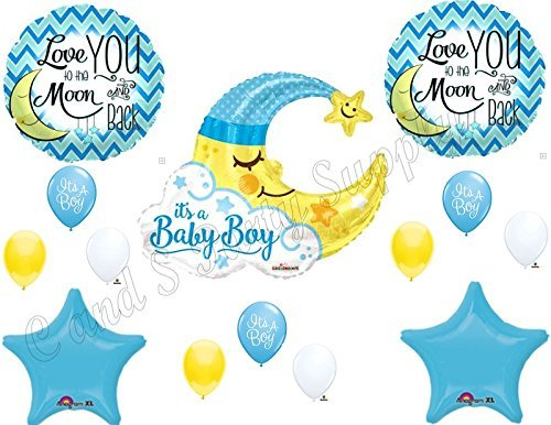 BABY BOY MOON shower Balloons Decoration Supplies Nursery Rhyme Diddle Stars