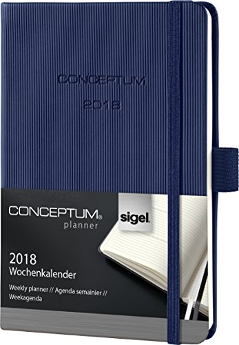 Sigel C1863 Weekly Diary 2018, ca. A6 (5.9 x 4.3 inches), Hardcover, midnight blue, CONCEPTUM – with numerous features