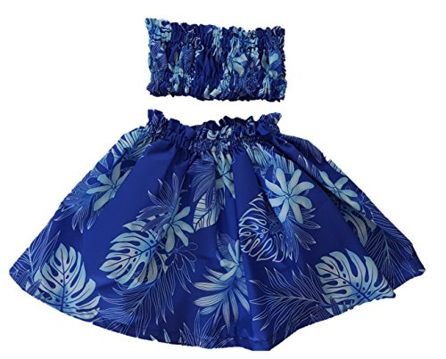 Tahitian Hula Costume (Hula Outfit Costume Moana Girl Skirt Top Pa'u Made on Maui (4T-5T, Blue Tahitian Flower))