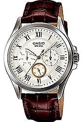 Casio Men's MTPE301L-7BV Brown Leather Quartz Watch with White Dial